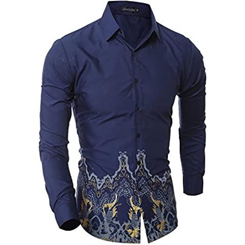 jeansian Uomo Moda Retro Stampa Colore Casual Camicia Slim Fashion Men Shirts 84N0