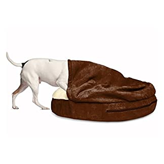 Furhaven Pet Dog Bed   Orthopedic Round Faux Sheepskin Snuggery Burrow Pet Bed for Dogs & Cats, Blue, 18-Inch 24