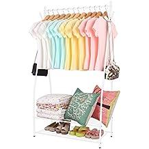 Harima - Garth Perchero de metal revestido con polvo, color blanco, resistente, con una barra para colgar ropa y un 2 niveles estante para zapatos, espacio Colgador de sombreros