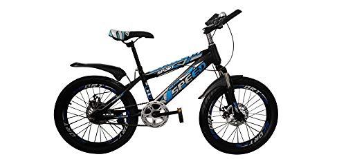 Kinderfahrrad Stahlrahmen für Jungen und Mädchen 20 Zoll Bike Blau mit Scheibenbremsen Mountainbike BMX