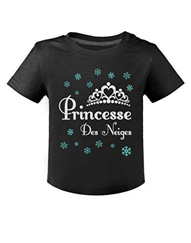 Green Turtle T-Shirts Princesse des Neiges Hiver Motifs de Noël Naissance T-Shirt Bébé Unisex 24M Noir