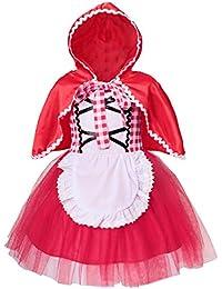 AmzBarley Vestito Principessa Cappuccetto Rosso Costume Bambina Vestiti  Costumi Carnevale Bambini Ragazza Abiti Festa Fantasia Compleanno 15d9a5efbf3e