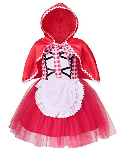 AmzBarley Rotkäppchen Kostüm mit Kapuze Kleid Kinder Mädchen Prinzessin Kleider Abendkleid Halloween Cosplay Verrücktes Kleid Geburtstag Party Ankleiden