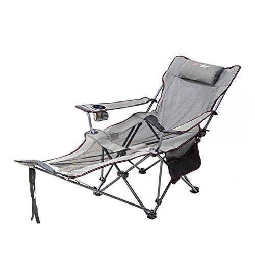HM&DX Klappstuhl außen Campingstühle liege Fußstütze Verstellbare rückenlehne Becherhalter Faltbare liege Strandstuhl Wandern strandgarten-grau