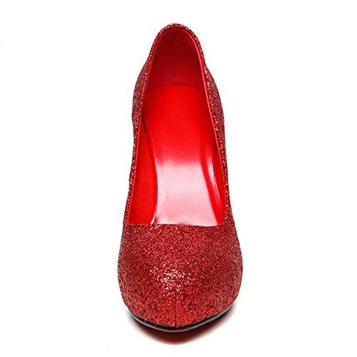 COOLCEPT Femmes Mode Slip On Court Shoes Bout Ferme Escarpins Talon Aiguille Shiny Mariage Chaussures Or Rouge