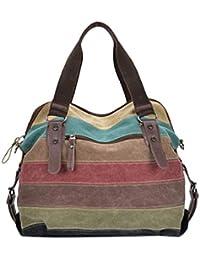 bolsos de las mujeres, FEITONG Bolso de hombro para mujer A rayas Lona Bolso, multicolor