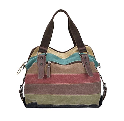 bolsos de las mujeres, FEITONG Bolso de hombro para mujer A rayas Lona Bolso, multicolor (Multicolour)