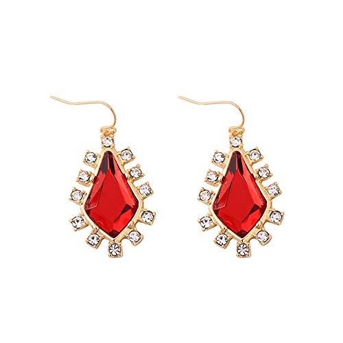 ZHWM Ohrringe Ohrstecker Ohrhänger Rote Geometrische Kristallohrringe Simple & Fashion Damen Hochzeit Ohrringe Markenschmuck