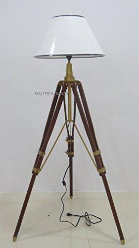Exclusive wood aluminum floor stand lamp 221 cm BY NAUTICALMART (Inc Exclusif)