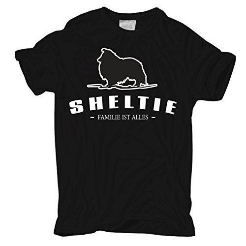 Männer und Herren T-Shirt Sheltie - Familie ist alles Größe S - 8XL Körperbetont schwarz