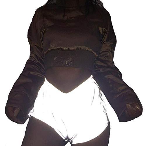 XWGlory Frauen Elastische Taille Leuchtende Reflektierende Beute Shorts Club Party Dance Kostüm Tragen (Luminous Dance Kostüm)