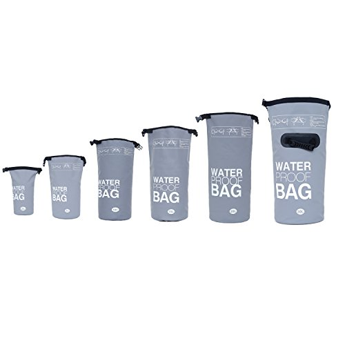 DonDon wasserdichter Beutel Sack Trockentasche mit Riemen Schutz vor Wasser Trockenbeutel für Ihre Wertsachen und Gegenstände grau 30 Liter