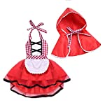 IWEMEK Baby Mädchen Rotkäppchen Kleid Neugeborenes 1. / 2.Geburtstag Partykleid Karneval Little Red Riding Hood Cosplay Kostüm Umhang Fancy Dress Up Grimms Märchen Halloween Faschingskostüm 2-3 Jahre