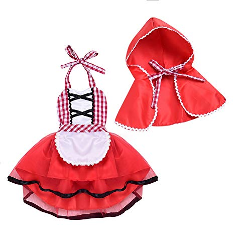 IWEMEK Baby Mädchen Rotkäppchen Kleid Neugeborenes 1. / 2.Geburtstag Partykleid Karneval Little Red Riding Hood Cosplay Kostüm mit Umhang Fancy Dress Up Grimms Märchen Halloween Faschingskostüm 12-18M (Kinder Little Red Riding Hood Kostüme)