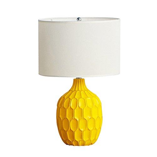 wshfor Nachttischlampe für Schlafzimmer für Wohnzimmer, kreative Harz Tischlampe moderne nordische Stil Schreibtisch Lampe E27 Schnittstelle gelb, Tuch Lampenschirm - Industrie-schreibtisch-lampe