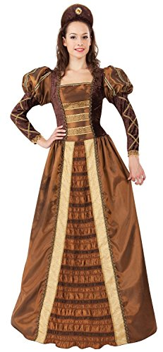 Adult Queen Renaissance Kostüm - Ladies Bronze Long Full Length Medieval Renaissance Queen Fancy Dress Costume Outfit UK 10-12-14 (One Size)