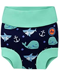 Baby Swimming Nappy Kids Reusable Swim Diaper Girls Costume Boys Swimshorts (12-24 Months, Blue Whale)
