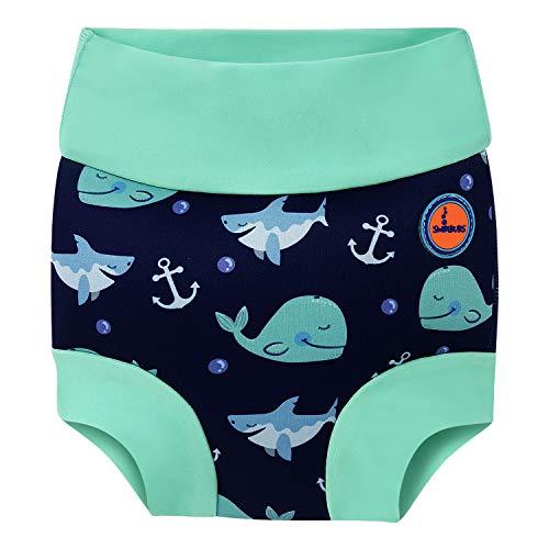 Baby Schwimmen Windel Kinder Wiederverwendbare Schwimmen Windel Mädchen Kostüm Jungen Schwimmen Shorts (6-12 Monate, Blauwal)