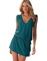 Vestidos de Verano Cortos Vestidos Playeros Sin Mangas Cuello en V Vestido Playa Sueltos Vestidos Playero