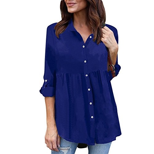 Imagen de shobdw mujeres sólidas de manga larga de gasa casual señoras ol trabajo camiseta superior más tamaño azul, xl