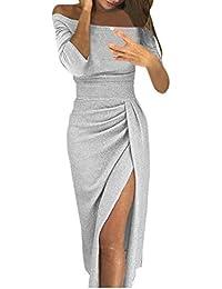 c49f51ecfa53 Ginli Fashion Vestito Donna Elegante Abiti Donna Nuova Moda Abito in  Chiffon di Pizzo Partito Sera