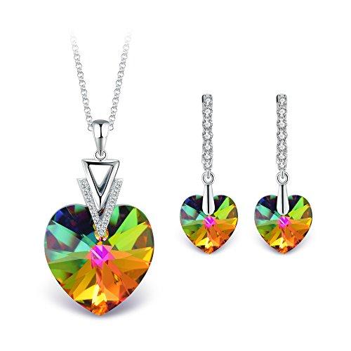 T400 jewelers collana con ciondolo a cuore e leverback orecchini cristallo di swarovski elements parure di gioielli donna,45+5cm regalo per donna ragazza