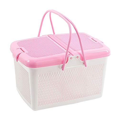 Sviqskr Picknick-Korb mit Abdeckung Hand-Kunststoff Kaufen Gemüse Pick Shopping Obstkorb Badezimmer-Kollektion 33 x 22,5 x 23,5cm