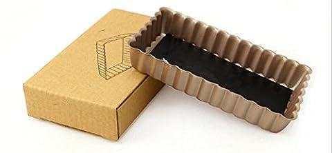 Antihaftbeschichtete Backform Backformen Mini Ende des 4-Zoll-rechteckige Torte Torte Fach 3pcs Schimmel , 4 inch rectangular bottom egg tart mode