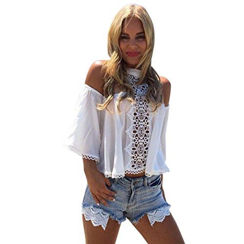 Damen Bluse, Bekleidung Longra Damen ab Schulter weißer Spitze Spleiß Hemd Bluse locker Chiffon Tops T Shirt White