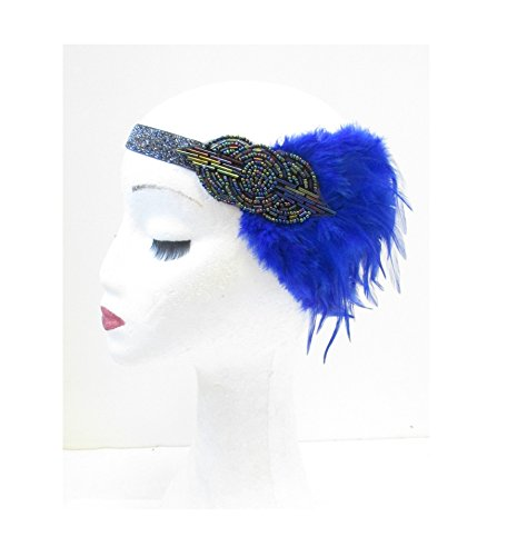 Bleu foncé Argent Plume Bandeau Bandeau Flapper ANNÉES Gatsby VTG V12 * * * * * * * * exclusivement vendu par – Beauté * * * * * * * *