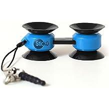 Sticko multiusos flexible pequeña ventosa langosta pinza y soporte para auriculares Jack Azul 2 paquetes
