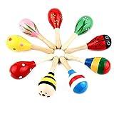 NiceButy 3Pcs Maracas Baby-Spielzeug kleine hölzerne Maracas Rassel Vibrator Ei Handglocke Musikerziehung Parteipräferenz Kinder Baby Shaker Sand Hammer Spielzeug Farbe zufällig