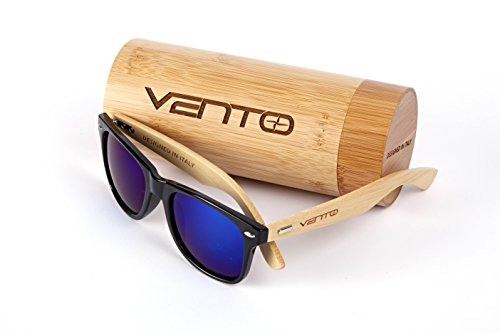Vento Eyewear® Modelo Chinook Black&Blue - Gafas de Sol de Madera de bambú, diseñadas en Italia con certificados CE y protección UV400, Marco Negro Lentes Azul