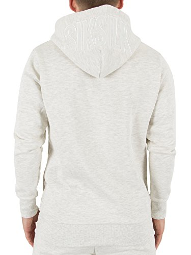 Sik Silk Zip Through Hoodie, Felpa Uomo Off-White (Snow Marl)