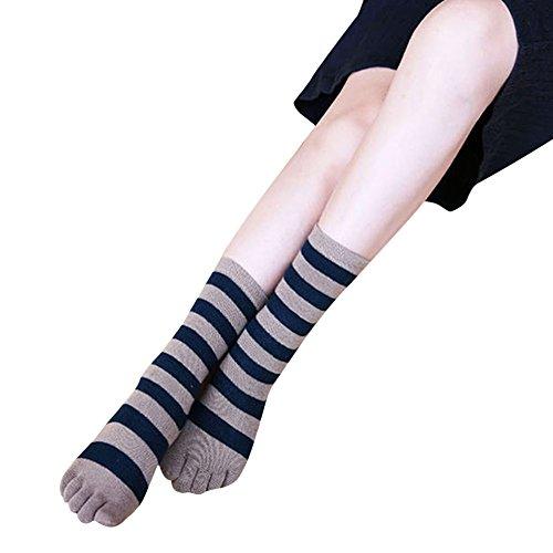 Gestreifte Zehen-socken (Butterme Unisex Männer Frauen klassische gestreifte Baumwolle Fünf Zehe Socken Weihnachtsgeschenk Knöchel Zehe Socken)