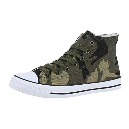 Damen Schuhe High Top Sneakers Stoffschuhe Trendfarben Sportschuhe Camouflage Basic 37 Jennika