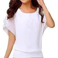 Para mujer O-cuello Corbata Gasa Camisas de manga Blusa de color sólido Damas Oversized