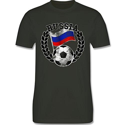 EM 2016 - Frankreich - Russia Flagge & Fußball Vintage - Herren Premium T-Shirt Army Grün