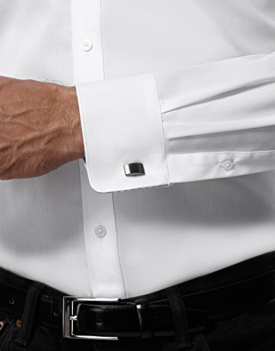 EMBRÆR Herren-Hemd Bügelfrei 100% Baumwolle Slim-Fit Tailliert Uni-Farben New-Kent Kragen - Männer Lang-Arm Hemden für Anzug mit Krawatte Business Hochzeit Freizeit Weiß