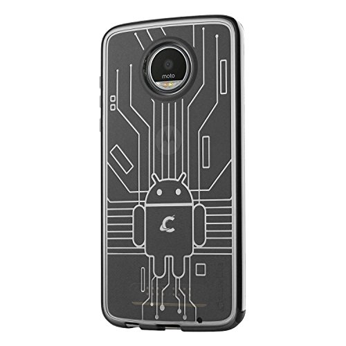 Cruzerlite Moto Z2 Play die Hülle, Bugdroid Circuit TPU die Hülle for Motorola Moto Z2 Play - Retail Packaging - Clear (Moto E Case Bugdroid)