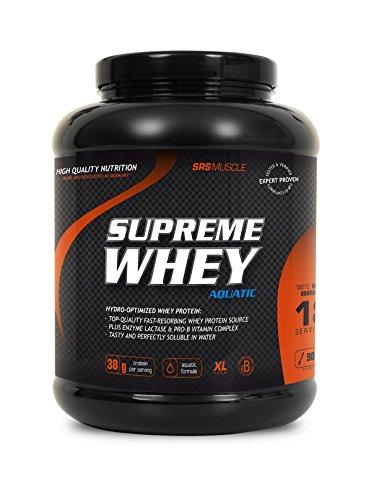 SRS Muscle - Supreme Whey XL, 900 g, Vanille-Rhabarber   Hydro-optimized Whey Protein   mit Enzym Laktase und Pro-B Vitaminen   aspartamfrei   deutsche Premiumqualität