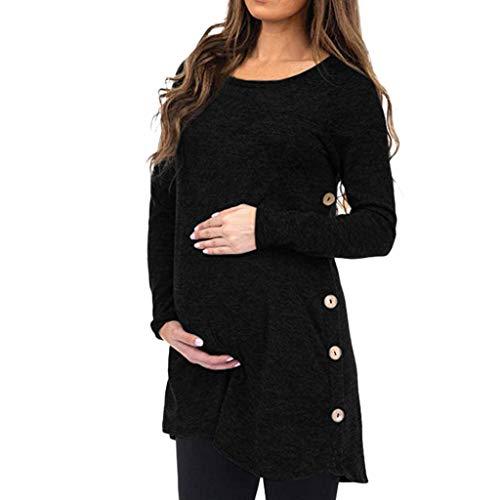 Mymyguoe Frauen Mutterschaft Schwangerschaft Langarm Solid Tops Bluse Button Tragejacke Damen Jacke Halter Pullover Damen Umstandskleidung Stillkleidung Kapuzenpullover Umstands-Pullover -