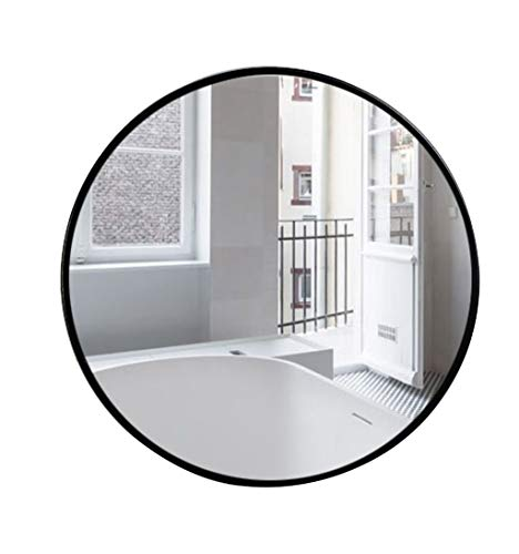 Fünf Größen Schwarzer runder hängender an der Wand befestigter Spiegel Modernes einfaches dekoratives Flur High Definition Rasierspiegel für Eitelkeit, Schlafzimmer oder Badezimmer -