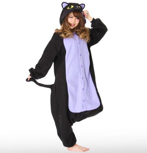 Spooky Black Cat Kigurumi - Japanese Sazac Cosplay Costume Pajamas (japan (Samurai Erwachsene Kostüme Black)