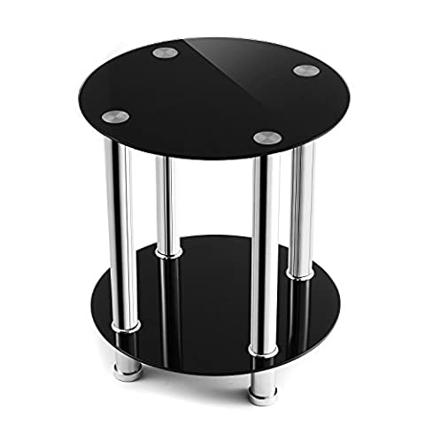 TAVR Furniture Black Safty Glass Coffee Table,End Table,Sofa Table, Night Stands ,Round 39x39x45(H)cm