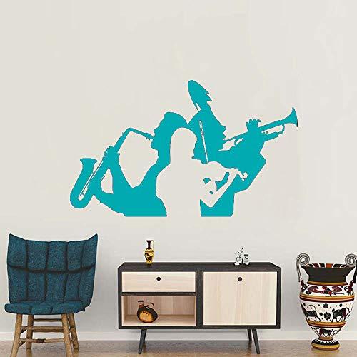guijiumai Musicista Sassofono Tromba Violino Adesivi murali Adesivo Soggiorno Decor Musica Banda Parete Tatuaggio Rimovibile Grande Sala murale L 3 S 70 cm x 42 cm