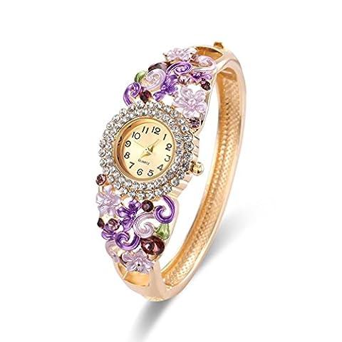Toamen Women Vintage Rhinestone Crystal Bracelet Dial Analog Quartz Wrist