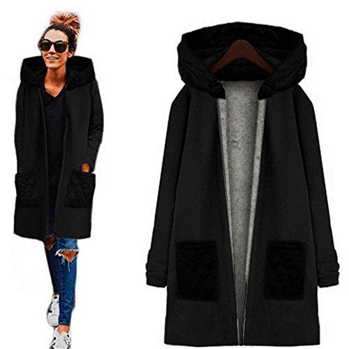 Kleidung Damen DAY.LIN Lange Ärmel Hoodie Mantel Jacke Windjacke Outwear Oben (L, Schwarz)