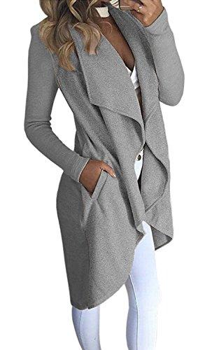 Minetom Damen Herbst und Winter Elegant Mäntel Trench Coat Outwear Wasserfall Schnitt Jacke Lang Kurz dünner Stoffgürtel Grau DE 38 (Mantel Kurz 38)