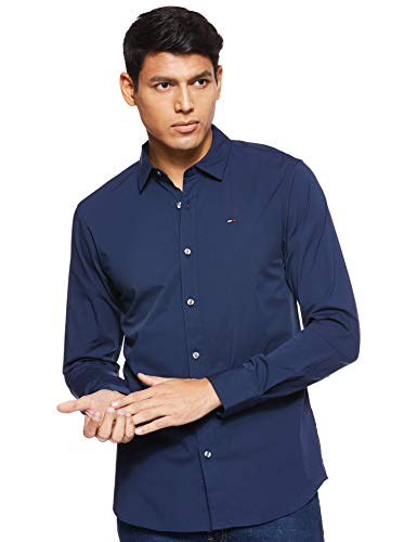 Tommy jeans uomo original stretch  camicia maniche lunghe slim fit blu (black iris 002) medium